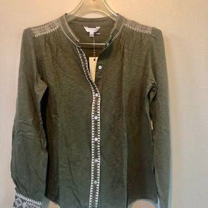 Lucky Brand long sleeve green embroidered top.